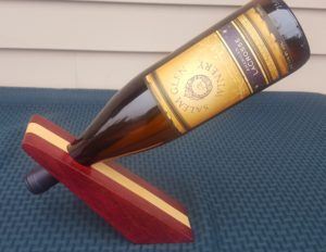 Wedge Wine Bottle Holder in Purple Heart and Maple