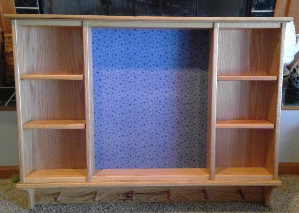 Shelving Unit in Oak with Covered Tack Board